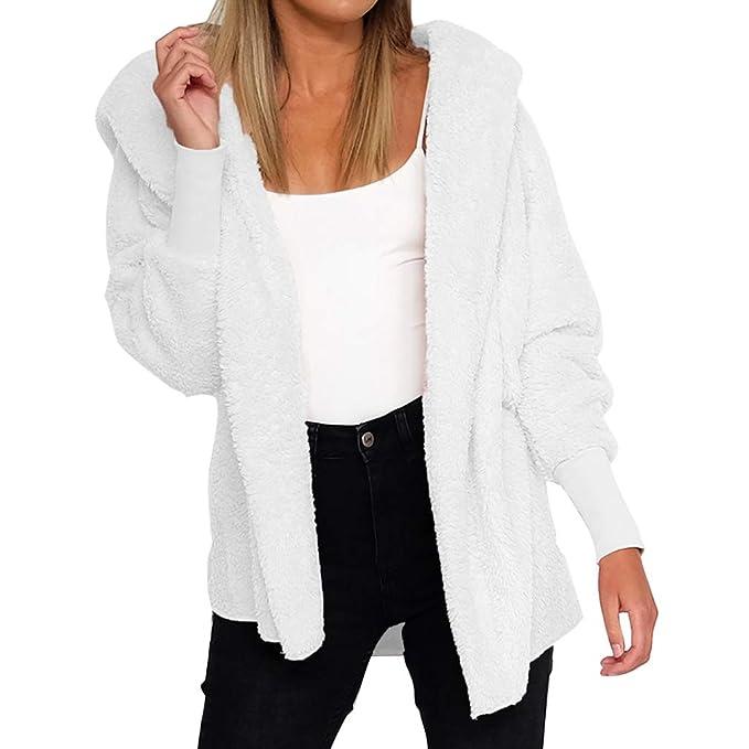 Chaqueta de Punto Mujer Jersey Invierno de Abrigo Rebecas Manga Larga Color Sólido Súper Suave Casual Abrigo Piel Sintética Fluffy Outwear Cardigan ...