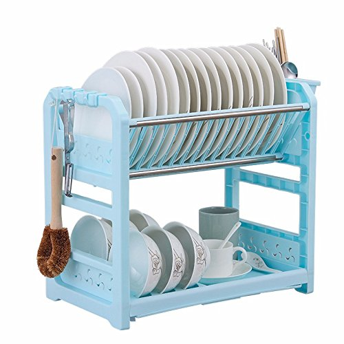 lzzfw Plastic Dual Layer into the bowl of water in Siu Lek Yuen rack shelf cupboards kitchen racks to the Blue Adhesive Hook And chopsticks cage B