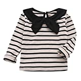 Janly Shirts for 0-4 Years Old Girls Long Sleeve Tops Toddler Infant Striped Printed T-Shirts Sweet Bow Blouse (2-3 Years Old, Pink)