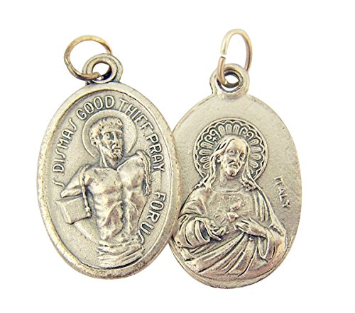 Silver Toned Base Saint Dismas with Sacred Heart of Jesus Medal, 1 Inch, Set of 2 ()