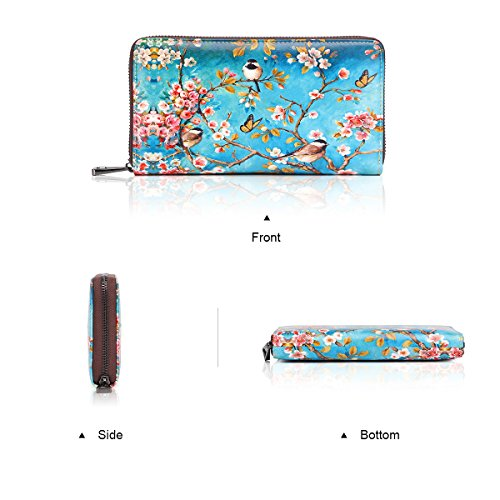Wallets Leather Zipper 1346 APHISONUK Holder Fox Card Blue Clutch red Box Women's Designer 0170a Cowhide Purse Gift Painting ErqqtI