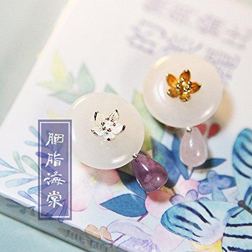 Bnia flower full of rouge natural stone white gold plated brooch hat pin 49 original handmade custom jade collar pin