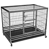"Topeakmart 43"" Strong Metal Collapsible Large Heavy Duty Dog Crate Pet Kennel Playpen w/Feeding Door/Pull-outTray"