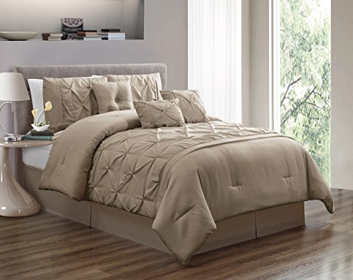 Grand Linen 7 Piece Queen Size Solid Taupe Double-Needle Stitch Puckered Pinch Pleat Stripe Includes 1 Comforter, 3 Decorative Pillows, 1 Bed Skirt, 2 Shams