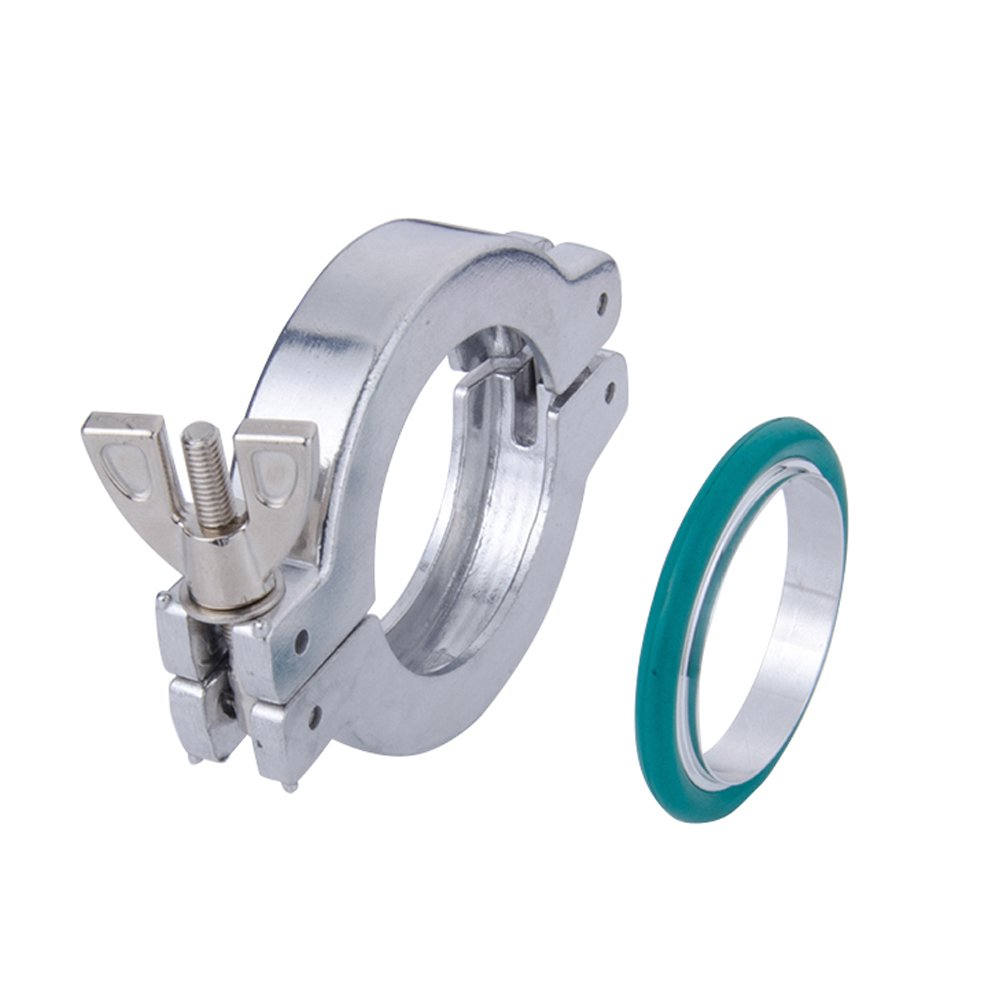 Set of 1 NW/KF-50 Aluminum Vacuum Clamps + Aluminum Centering O-rings with FKM/Viton Seal , Vacuum Part