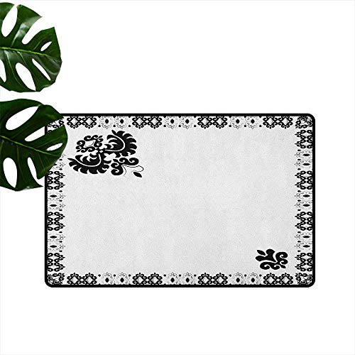 Turkish Pattern,Floor mat Oriental Framework with Stylized Leaf Ornament Black and White Damask 18