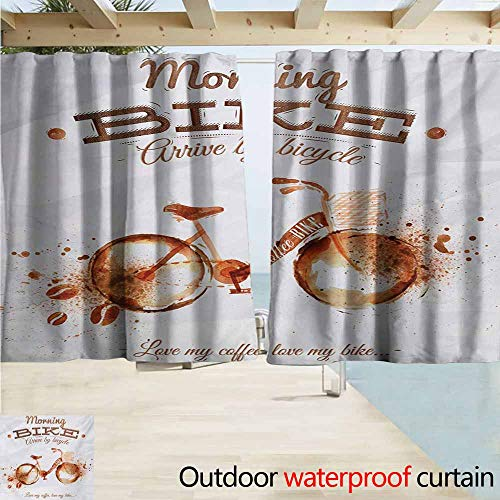 AndyTours Rod Pocket Curtains,Coffee Art Refreshing Morning Coffee and Bike Theme Love Passion Habit Artistic,Darkening Thermal Insulated Blackout,W55x39L Inches,Dark Orange Chocolate