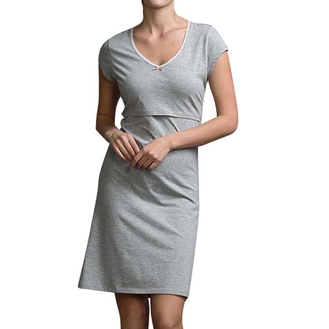 Highdas Camisones de Maternidad de Pijama Vestido para Ropa de Dormir Ropa de Lactancia Camisón de Lactancia para Mujeres Embarazadas: Amazon.es: Ropa y ...
