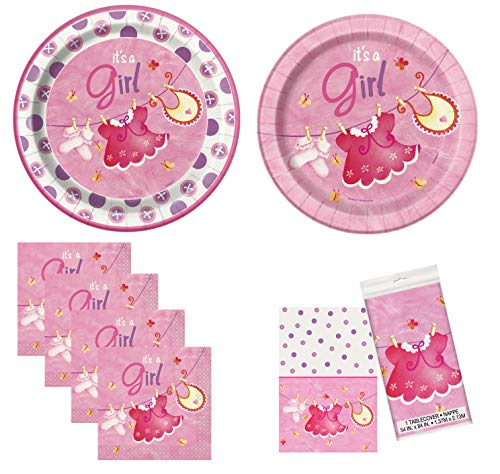 Unique Pink Clothesline Baby Shower Party Bundle | Napkins, Dinner & Dessert Plates & Table Cover | Great for Girl Baby Showers ()