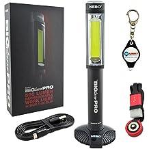 Nebo 6640 Big Larry Pro USB Rechargeable Magnetic LED Work Light Built-In Clip 500 Lumens w/ LightJunction Keychain Light