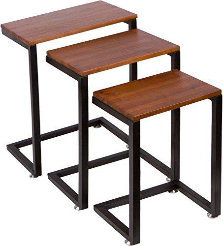 3 Piece Cedar Wood Amp Metal Nesting End Table Set By