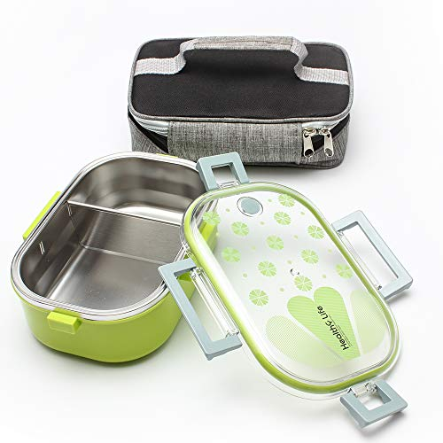 Leakproof Stainless Steel Thermal Bento Lunch Box-Divided Lunch Container & Insulated Bag:Eco Friendly Portable,Lightweight and Suitable for School, Work, Kids, Adults, Men, Women Green)