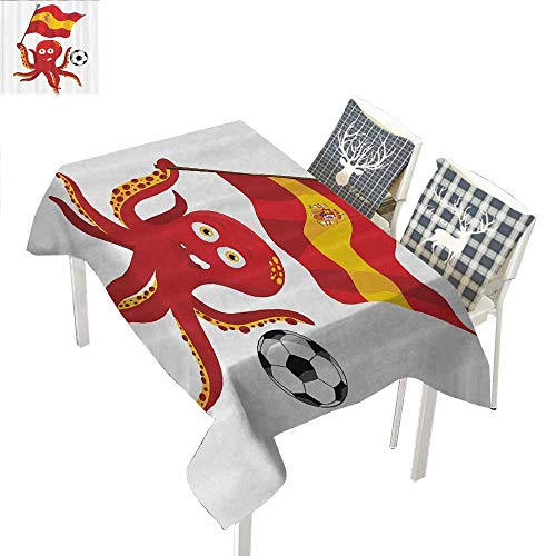 "Funny Octopus bedside table tablecloth Soccer Player Spain Flag European Football Barcelona Madrid Valencia Sports Lover Clip Accent for MaleRed Yellow White rectangle tablecloth W60""xL120"" inch"