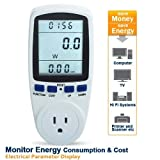RioRand Plug Power Energy Watt Voltage Amps Meter with Electricity Usage Monitor, White