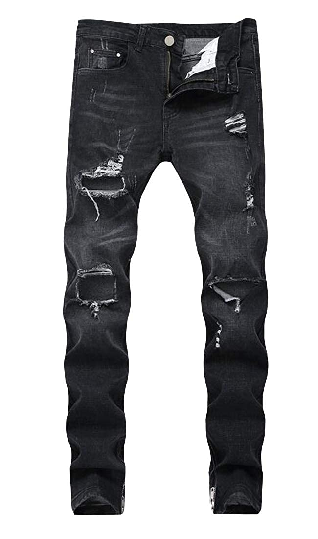Heless Men Ripped Holes Mid Rise Casual Slim Zipper Jeans Denim Pants