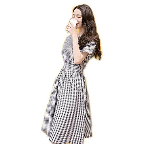 [CAUSAL STYLE CAUSAL LIFE Fashion Brand New short Sleeve Dress Women Clothing Casual vintage Dress] (Western Day Dress Up Ideas)