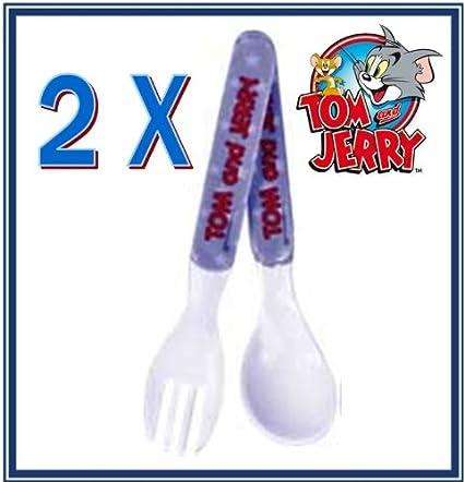 2 x Tom & Jerry – Cubertería para Bebé Niños Infantil Niños Juego de cubiertos