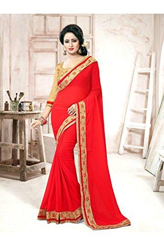 Da Facioun Saris Indiens Pour Les Femmes Portent Partie Concepteur De Mariage Sari Traditionnel Ethnique Rouge 84