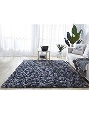 Brands Hetooshi Pluche tapijt, superzacht imitatiebont, modern, wollig interieur, lang haar, vachtlook, gezellige bedmat, bankmat