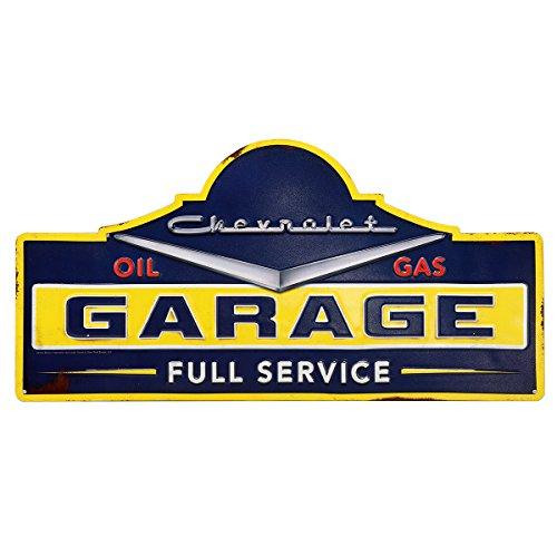 Embossed Sign - Open Road Brands Chevrolet Garage Rustic Embossed Metal Sign
