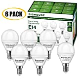 LED E14 Small Edison Screw (SES) Golf Ball Bulbs, 5W P45 E14 LED Lights Bulbs, 40W Incandescent Bulb Equivalent, 400LM, 3000K Warm White [Energy Class A+] (Pack of 6)