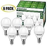 LED E14 Small Edison Screw (SES) Golf Ball Bulbs, 5W P45 E14 LED Lights Bulbs, 40W Incandescent Bulb Equivalent, 400LM, 3000K Warm White [Energy Class A+] (Pack of 6)
