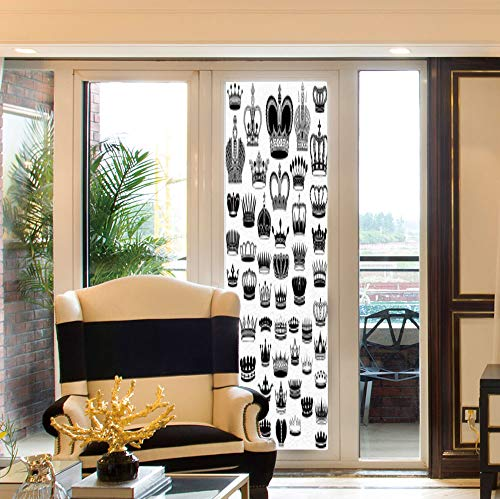 (YOLIYANA Decorative Window Film,Queen,for Bedroom Living Room Kitchen,Big Silhouette Crown Set Monarchy Imperial Ruler Icons,24''x78'')