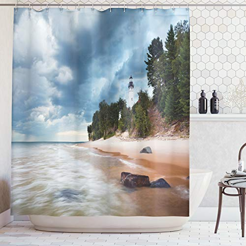 Ambesonne Lighthouse Decor Collection, Au Sable Lighthouse in Pictured Rock National Lakeshore Michigan USA Picture, Polyester Fabric Bathroom Shower Curtain Set with Hooks, Cloudy Blue Ivoy (Big Sable Lighthouse)