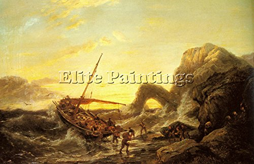 DOMMERSEN PIETER CHRISTIAN SHIPWRECK ARTIST PAINTING OIL CANVAS REPRO ART DECO 16x24inch by Elite-Paintings