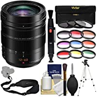Panasonic Lumix G DG Vario-Elmarit 12-60mm f/2.8-4.0 ASPH Power OIS Zoom Lens with 3 UV/CPL/ND8 & 9 Color Filters + Tripod + Sling Strap + Kit