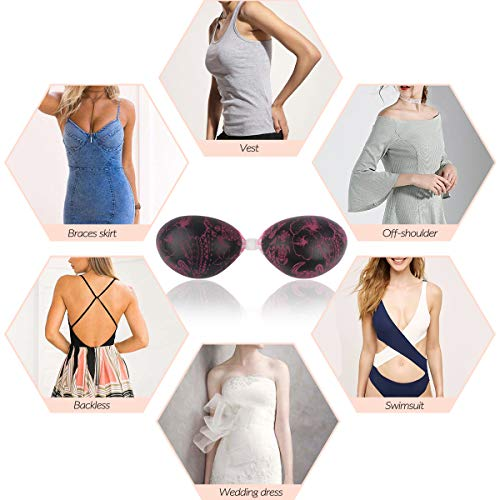 94dbb4c70cb71 Niidor Adhesive Bra Strapless Sticky Invisible Push up Silicone Bra for Backless  Dress with 2PCs Silicone