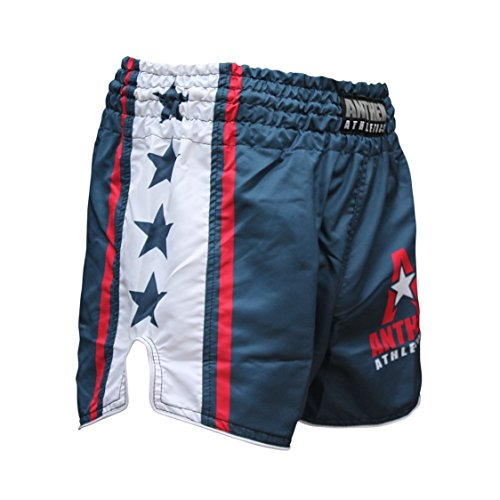 Anthem Athletics New! 10+ Styles Reckoner Retro Muay Thai Shorts - Kickboxing, Thai Boxing - Blue, White & Red - X-Large