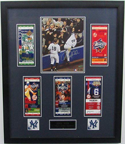 (Signed Derek Jeter Photograph - Framed 8x10 WS Tickets 140796 - Steiner Sports Certified - Autographed MLB Photos)