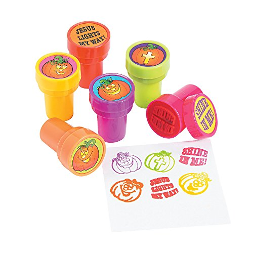 Fun Express - Christian Pumpkin Stampers for Halloween - Stationery - Stamps - Stamps - Self Inking - Halloween - 24 Pieces -