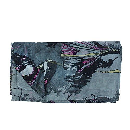 eFuture(TM) Gray Fashion Begonia Flower Ink Style Soft & Warm Long Chiffon Shawls Scarves Wrap For Women Lady +eFuture's nice Keyring