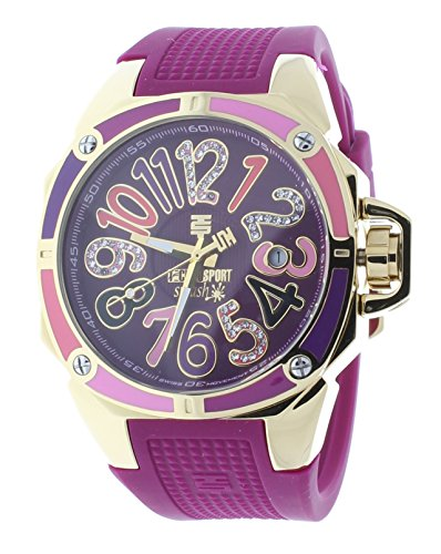 Technosport TS-200-SPLASH5 Women's Magenta Watch Swarovski Multicolor Colorful Dial Markers Gold-Tone Case