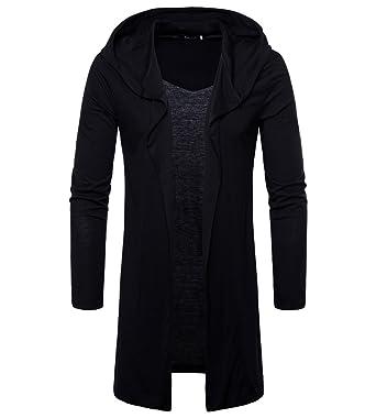 highly praised best sale select for official MISSMAO Men's Long Hooded Open Edge Cardigan Coat Jacket ...