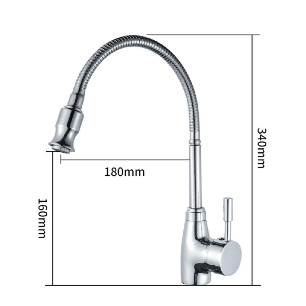 VIOY Kitchen sink copper faucet universal tube hot and cold easy to install washbasin,Silver,One size