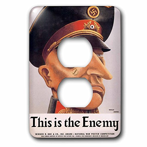 Price comparison product image 3dRose lsp_149472_6 Vintage This is The Enemy Hitler National War Poster Competition Winner Light Switch Cover