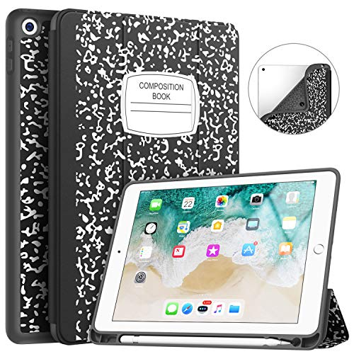 New iPad 9.7 2018/2017 Case with Pencil Holder, Soke Slim Fit Smart Case Trifold Stand with Shockproof Soft TPU Back Cover and Auto Sleep/Wake Function for iPad 9.7 inch 5th/6th Generation, Book Black