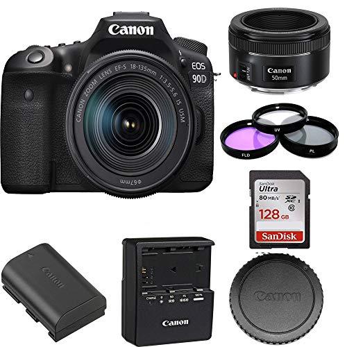 Canon EOS 90D DSLR Camera with 18-135mm Lens | Canon EF 50mm f/1.8 STM Lens | SanDisk 128GB Bundle