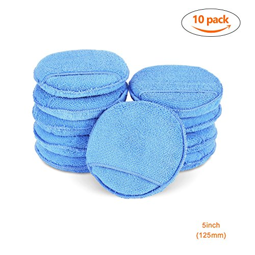 SPTA Car Microfiber Wax Applicator Pads with pocket Car Clean Cleaning For Car Pack of 10Pcs