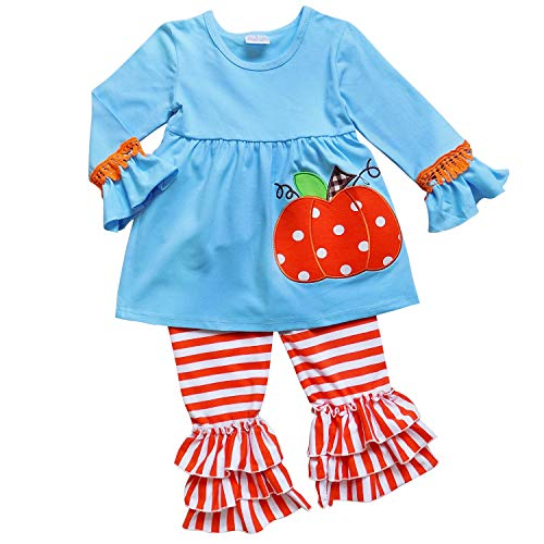 So Sydney Girls Halloween Pumpkin, Candy Cat - 2 Piece Ruffle Pants Outfit (S (3T), Pumpkin Blue) -