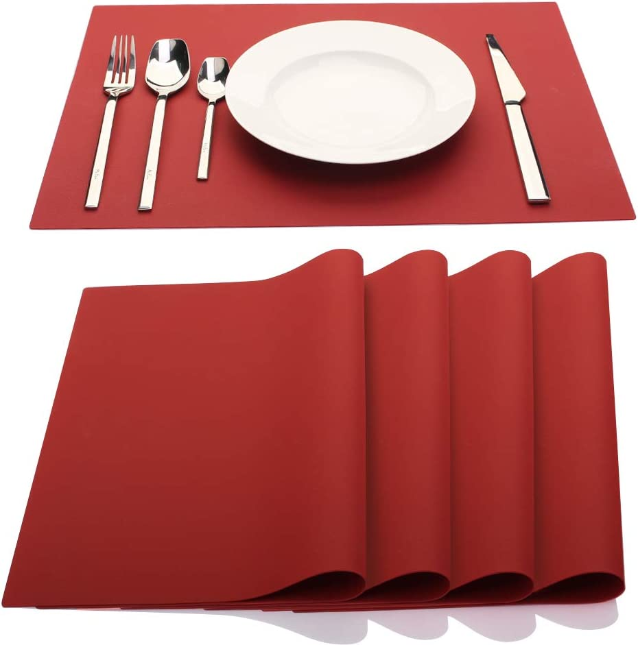 ME.FAN Silicone Placemats [17.7''x12.6''] Heat-Resistant Thicken Non-Slip Tablemats Stain Resistant Anti-Skid Washable Reusable Table Mats Set of 4 (Wine Red)