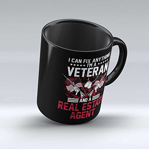 I'm A Veteran Real Estate Agent Mug - Gift for Veteran Real Estate Agent Veterans Day Gift For Job Office Friends Self Colleague Patriotic Gift Black Coffee Mug By HOM