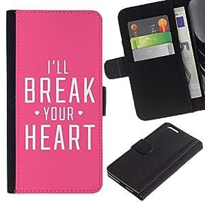 For Apple (5.5 inches!!!) iPhone 6+ Plus / 6S+ Plus Case , Heart Heartbreak Pink Fierce Love - la tarjeta de Crédito Slots PU Funda de cuero Monedero caso cubierta de piel