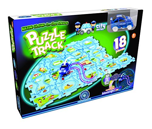 Mindscope Neon Glow in The Dark Puzzle Track 18 Pieces City Series