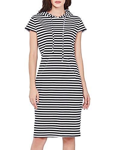 T.SEBAN Womens Dresses Casual Striped Hoodies Cotton Sweatshirt Midi Summer Dress Long Solid (Good Vibes Hoodie)