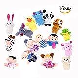 OFKPO 16 PCS Soft Finger Puppets Set Educational Toys Cartoon Animal Toy Including 10 PCS Animal And 6 PCS Family Members