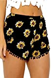 Casual Pants, CoKate Sunflower Tassel Edge Floral Print Beach Shorts (US 6/ Large)